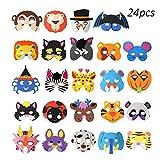 (24 pz) OOTSR Maschere di Schiuma di animali, Maschere di animali assortiti Maschere di Halloween per bambini Maschere per feste di schiuma Maschere Sacchetti di regalo