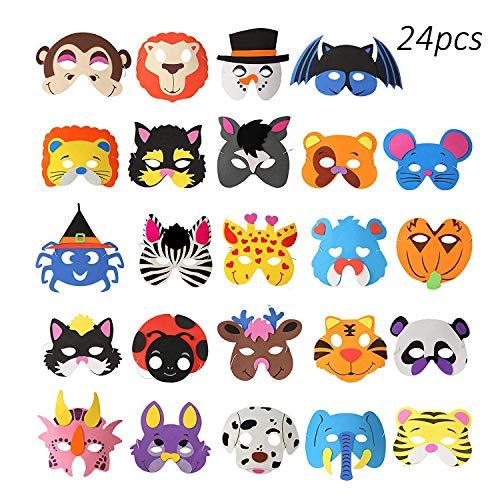 (24 stücke) OOTSR Tier Schaum Masken, Verschiedene Tiermasken Halloween Masken für Kinder Schaum Partei Masken Geschenkbeutel Füllstoffe