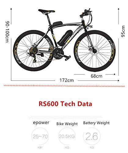 513J04Pd7JL - Extrbici Electric City Bike Rs600 Mans Electric Road Bike 700c×50cm Strong Carbon Steel Frame 240W 36V 15AH Lithium Battery with Key Start Shimano 21 Speeds Dual Disc Brakes