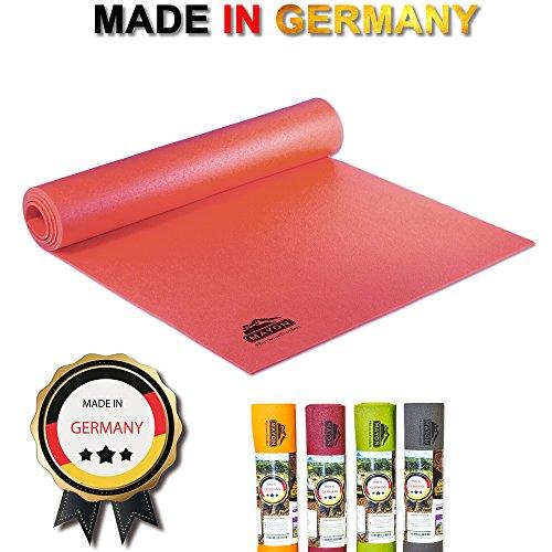 Profi Premium Yogamatte - rutschfest, umweltfreundlich & schadstofffrei nach ÖKO TEX 100 - ROT 183 x 60 x 0,45 cm, PVC/Glasgarngewebe & Maschinenwaschbar bis 60º C - Hergestellt in Deutschland