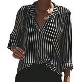 TianWlio Damen Langarmshirt Bluse T-Shirt Tops Frauen Herbst Winter Streifen Drucken Lässiges Oberteil T-Shirt Damen Lose Langarm Top Bluse