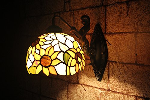 AIFUDE Moderne unbedeutende Pastoral 12-Zoll-Tiffany-Wand-Lampe Kreative Mermaid-Stil Glasmalerei Sunflower Design Spiegel-Frontleuchten Gebogene Lampe Hallen-Lampe