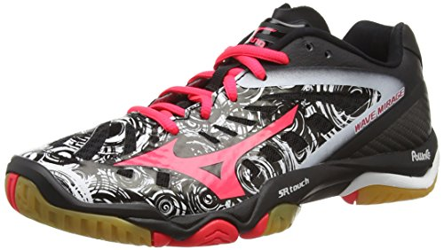Mizuno Wave Mirage - Multi-sports - Intérieur Femme - Multicolore (Black/Diva Pink/White) - 37 EU (4.5 UK)