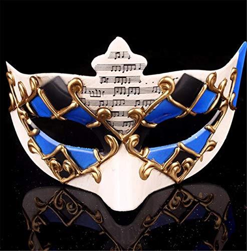 LPP Halloween-Maske, Maskerade, High-End-Öko-Make-up Kreative Unisex-Halbgesichtstanz Musiknote Umweltschutz Kunststoffschleier Blue