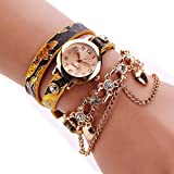 HUIHUI Uhren Damen, Geflochten Armbanduhren Günstige Uhren Wasserdicht Casual Strass Rivet Kette Quarz Armband Armbanduhr Luxus Armband Coole Uhren Lederarmband Mädchen Frau Uhr (E)