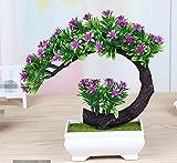 LOF-fei Künstliche Pflanzen Topfpflanzen Dekoration Büro Esstisch Zubehör,der rot grün square Keramik Blumentöpfe
