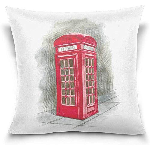 Acuarela Vintage London Red Cabina de teléfono Elegante Impreso Throw Pillow Funda...