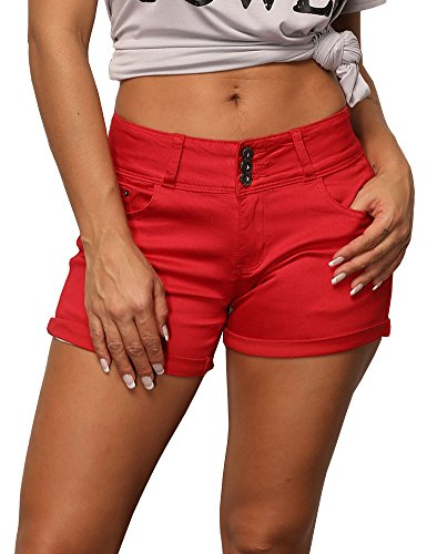 Uoohal Women Casual Stretchy Denim Shorts High Waisted Folded Hem Jean Shorts