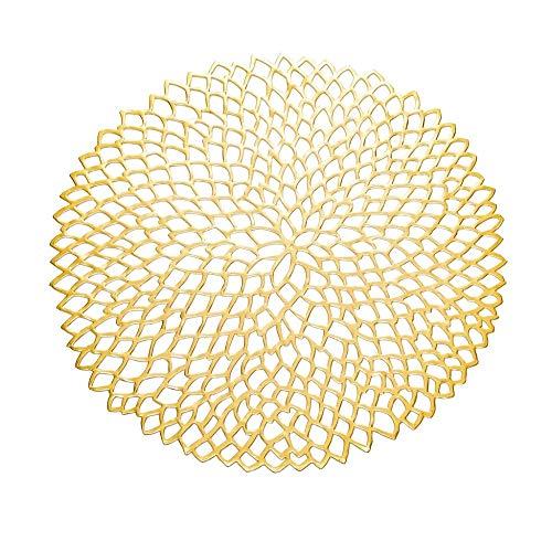 ANRIRA Tisch Matten Set von 6 Untersetzer Simulation floral PVC Tasse Kaffee Tischmatte für Esstisch abwaschbar waschbar Non-Slip für Küche Weihnachten Home Decor,Gold (Tisch Matten Set 6)