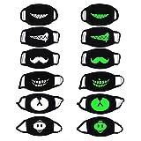 PROACC 6 PACK Baumwolle Motten-Maske, Leuchtend Unisex Anti Staub Wind Gesicht Maske, Glühen in der