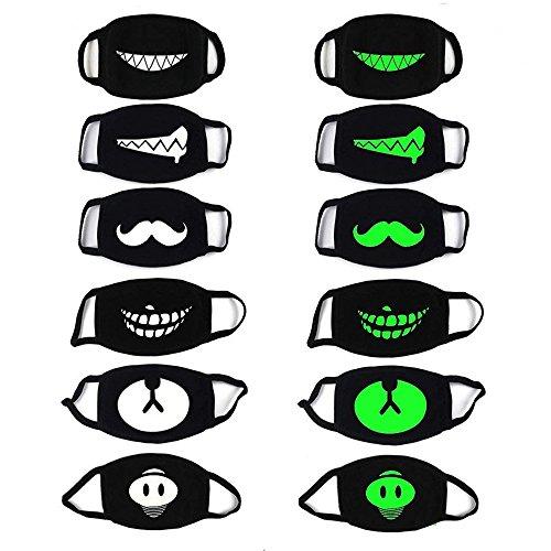 PROACC 6 PACK Baumwolle Motten-Maske, Leuchtend Unisex Anti Staub Wind Gesicht Maske, Glühen in der (Halloween-bilder Für Männer)