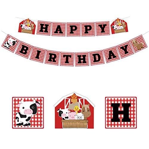 Kreatwow Bauernhof Tier Geburtstag Banner Barnyard Geburtstag Partydekoration Lieferungen für Kinder (Geburtstag Barnyard 2.)