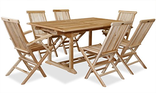 KMH, Teak Gartensitzgruppe mit ausziehbarem Gartentisch für 6 Personen (#102207)