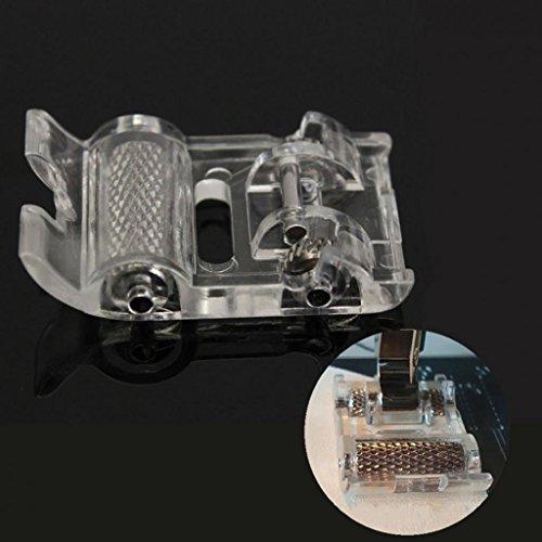 Zhouba Tige basse Rouleau Pied presseur pour machine à coudre Singer Brother Janome Home Taille unique Silver