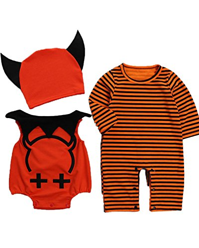 Kidsform Baby Junge Langarm Cosplay Halloween Karneval Bodysuit Jumpsuit Outfits Set Style 2 (Halloween Jungen Outfits)