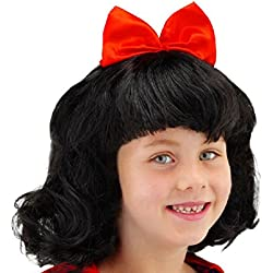 Folat 26800–Parrucca Biancaneve per bambini, Nero/Rosso