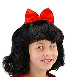 Folat 26800 -Peluca de Blancanieves para niños, color negro/rojo