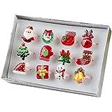 Linda niña de Navidad conjunto de anillos artificiales conjunto de anillo de juguetes pretencioso