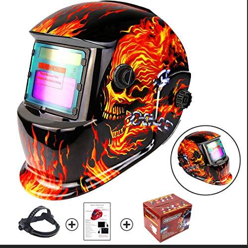 XWQXX Schweißmaske Solarbetriebene Auto-Verdunkelungshaube mit einstellbarem Farbbereich 4/9-13 für Mig-Wig-Lichtbogen-Schweißer-Maskenschild Flaming Skull Design,Red-OneSize (Red Xiii Kostüm)