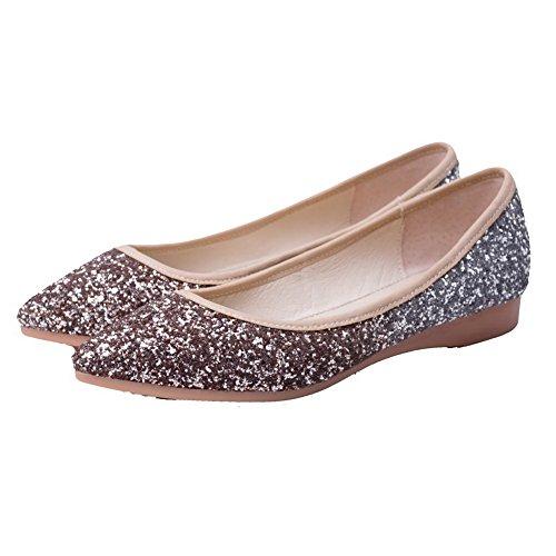 VogueZone009 Femme Tissu à Paillette à Talon Bas Pointu Couleur Unie Tire Chaussures Légeres Doré