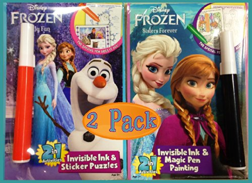 Disney Frozen Sisters Forever & Chilly Fun Invisible Ink Coloring Books (Set of 2 Books)