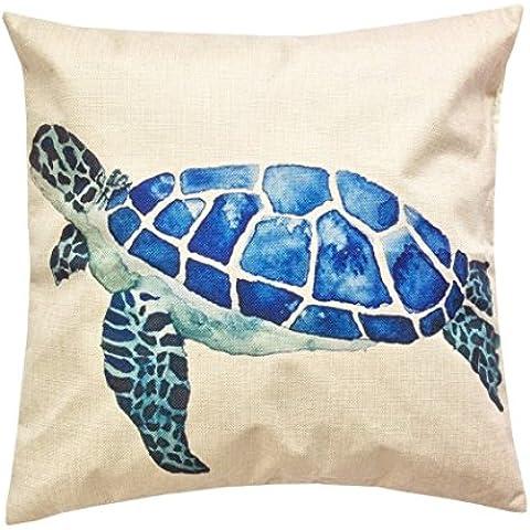 """JXLOULAN vita marina stile Mediterraneo modello cuscino copertina decorazione domestica cotone lino federa decorazione moda cuscino quadrato copertina 18"""" x 18"""""""