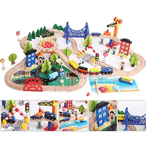 YRE Hölzerne 108PCS Schienenfahrzeug Thomas Kleinzug Set, DIY zusammengebaut Kinderspielzeug