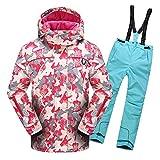 LSHEL Skianzug Jungen Mädchen Skianzüg Kinder Schneeanzug Wasserdicht Winddicht Skijacke und Skihose 110