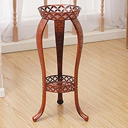 ZCJB Etagères de plantes Grilles De Fleur De Fer Multicouche Style Européen Salon Balcon Simple Ground Bonsai Shelf (Couleur : Cuivre rouge)