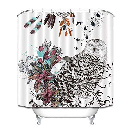 hdrjdrt Atrapasueños Bohemian Owl Cortina de Ducha decoración Impermeable Opaco Arte Creativo protección del Medio Ambiente tamaño 180x180cm