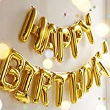 "Mcolour HAPPY BIRTHDAY Large 16"" Foil Balloon Banner Letters Party Decor With Ribbon Straw (Gold)"