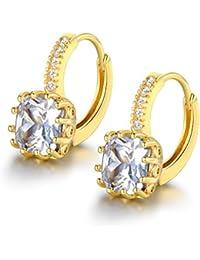 MASOP Gold Tone 9mm Birthstone Earrings Heart Cubic Zirconia Leverback Huggie Hoop Earrings