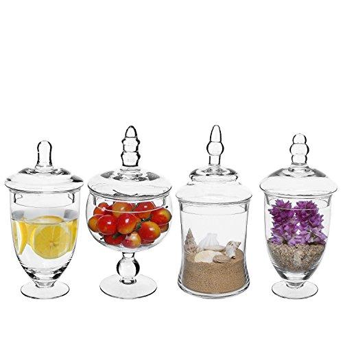 Set di 4barattoli per spezie in vetro trasparente/wedding Candy buffet Jars/centrotavola display con coperchi
