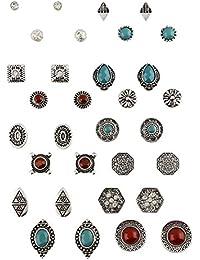 """SIX """"Basic"""" großes Set mit 16 verschiedenen Ohr Ringen Steckern Hängern, orientalischer Look in silber, türkis und rot braun, Steine Weihnac (702-248)"""