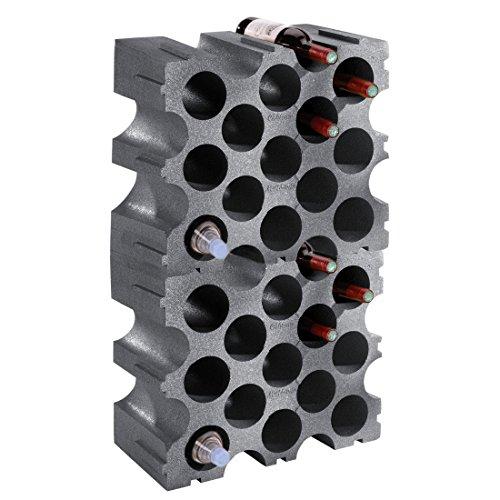 Weinregal / Flaschenregal STONE, Kunststoff, 2er-Set für 30 Flaschen, stabelbar / erweiterbar - H 86 x B 50 x T 26 cm