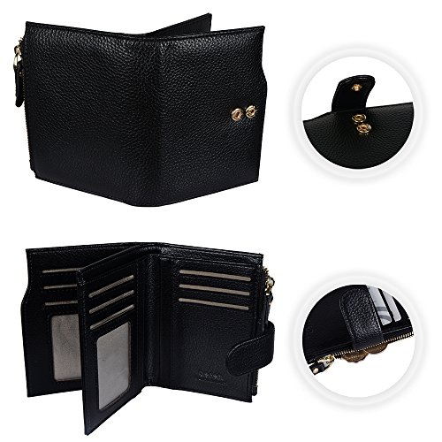 Befen Women's Full Grain Leather RFID Blocking Multi Card Organizer Wallet Wristlet with Zipper Pockets and Wrist Strap for iPhone 7/6s/6 Plus - Black Black RFID Bifold Wallet