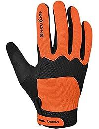 Panegy Unisex Guantes Completos de Ciclismo Antideslizantes Gloves de Pantalla Táctil para Hombre Mujer Bicicleta Bici MTB Deportes Outdoor - Naranja - Talla L