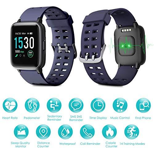 Imagen de naack pulsera actividad, smartwatch, reloj inteligente impermeable ip68 pulsómetro monitor de sueño pulsera deportiva cronómetro contador de calorias para mujer hombre niños compatible ios y android alternativa