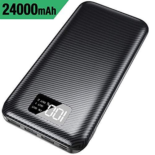 Externe Mobile Power Adapter (KEDRON Powerbank 24000mAh Externer Akku mit USB C&Micro 2 Eingänge und 3 Ausgänge Power Bank Handy für Smartphones, Tablett-Schwarz)