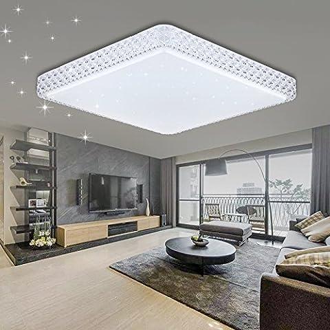 VINGO® Kristall Deckenleuchte Sternenhimmel LED 60W Kaltweiß Eckig Wohnzimmer Deckenlampe 6000K-6500K Mordern Badleuchte