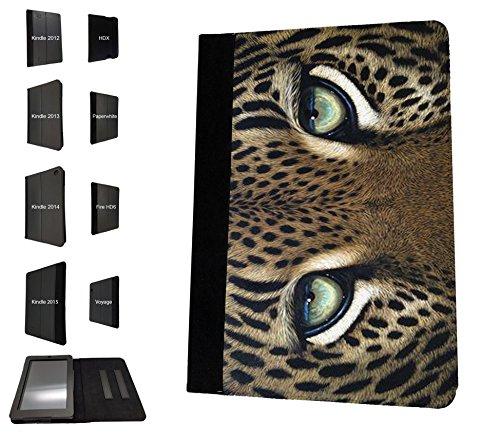 1133-Lustiges Amazing Nature Leopard Augen Katze Kätzchen Feline Design Amazon Kindle Fire HD 17,8cm 5. Generation (2015Release nur) Fashion Trend TPU Leder Flip Case Schutzhülle Portemonnaie Tasche Book Style Defender Stand Cover -