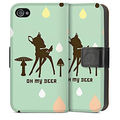 Apple iPhone 4 Housse Étui Silicone Coque Protection Oh ma biche Bambi Chevreuil Sideflip Sac
