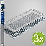 Easy Life 3er Set Profi Lichtschachtabdeckung 60 x 115 cm mit Alu Rahmen Komplett-Set Insektenschutz Kellerschachtabdeckung kürzbar und universell passend für meisten Lichtschächte