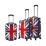 Conjunto de 3 maletas - bandera Inglaterra- de material ligero y rígido policarbonato con 4 ruedas multidireccionales. ¡Oferta de maletas al mejor precio!