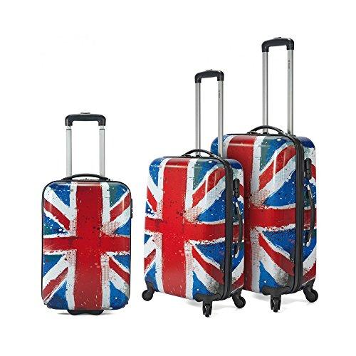 57a0e153f Conjunto de 3 maletas - bandera Inglaterra- de material ligero y rígido  policarbonato con 4