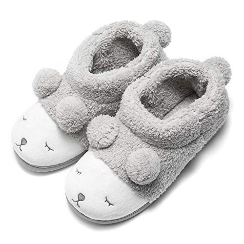 Pantofola peluche invernale animale donna grigio (high top) 37/38 eu