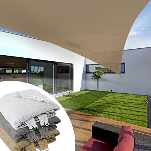 casa pura, tendone parasole a vela triangolare, 3x 3x 3m, beige