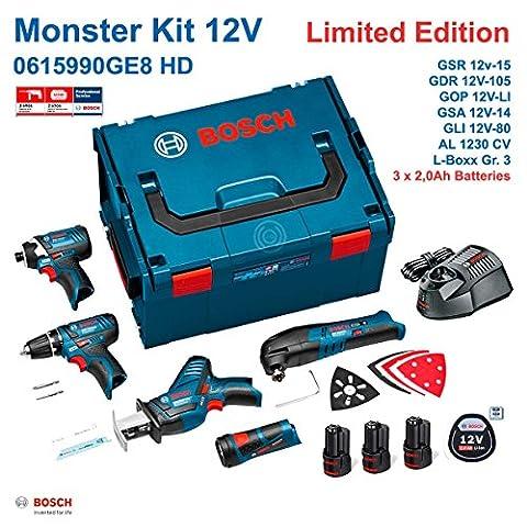 BOSCH Monster Kit GE8 (GSR 12V-15 + GDR 12V-105 + GSA 12V-14 + GOP 12V-LI + GLI 12V-80 + 3 x 2,0 Ah + AL1230CV + L-Boxx 238)