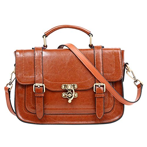 Leathario Borsa Vera Pelle Donna Ragazza Tracolla Mano Spalla Estate Vintage Fashion Scuola Weekend Lavoro Marrone