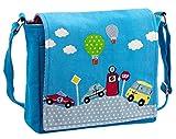 Kindertasche Kindergartentasche CARS in türkisfarbenem Baumwollstoff mit bunten Autos
